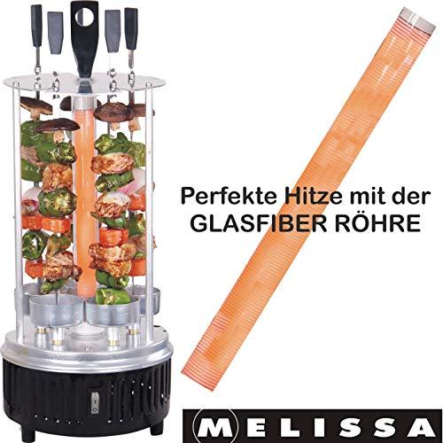 Melissa 16360017 Vertikaler Tischgrill für Döner, Schaschlik, Gemüse, Hähnchen, Gyros oder Dönerspieße Dreh-Grill mit Schutzgitter inklusive 5 Spieße,Glasfiber Heizröhre, 1000 Watt
