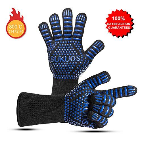 SUKUOS Grillhandschuhe Ofenhandschuhe Hitzebeständig für Männer, bis zu 800 ° C Grill Lederhandschuhe Universalgröße BBQ Kochenhandschuhe - Schwarz und Blau ... (Blau) (Blau)