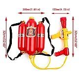 JAGENIE Kinder Feuerwehr Rucksack Düse Wasser Gun Beach Outdoor Spielzeug Feuerlöscher Soaker