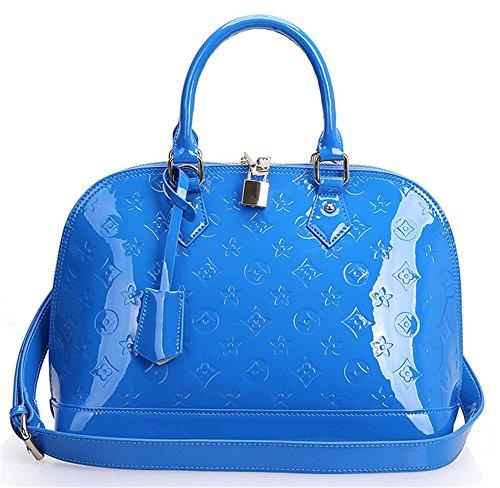 Xinmaoyuan Borse donna in pelle sacchetto Shell goffrato Fiore di vacchetta femmina spalla borsa tracolla obliquo Borsa Donna,blu Blue