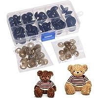 Jiamins 52piezas 12A 20mm ojos de seguridad de plástico negros ojos de sólidos para Teddy, oso, muñeca, Fantoche y artesanía