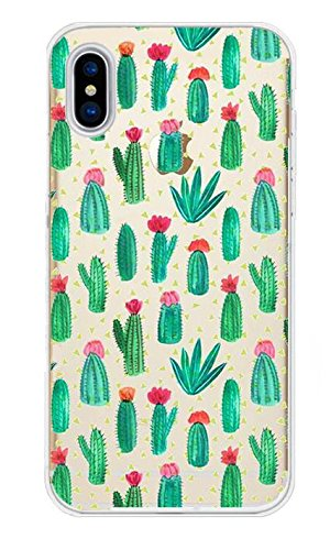 iPhone X Handyhülle Schutzhülle Hülle Silikon Cover Case Ultra Slim Ultradünn Etui aus TPU transparent Kaktus