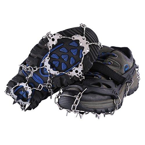 GOMYHOM GOMYHOM Steigeisen, 19Spikes, Edelstahl, Gurt zur Befestigung an den Schuhen, Set mit 2Stück, für Sicherheit beim Wandern und Bergsteigen auf Eis und Schnee, Schwarz