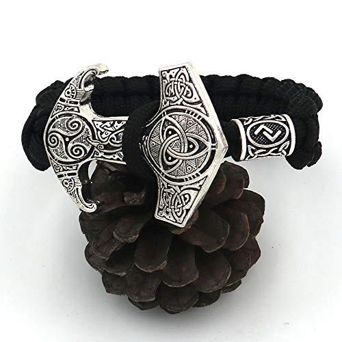 LEEFISH Wikinger Rune Armband, Nordisch Antiquität Armreif, Lunavin Schwarz Handgemacht Bart Perlen Schmuck Draussen Odin Krähe Totem Hammer + Perlen,23cm