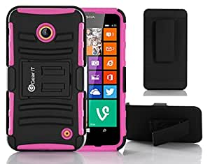 GearIt Nokia Lumia 635 630 Case - High Impact Hybrid Armor Dual Layer Cover Stand Holster (AT&T, MetroPCS, & T-Mobile) - Magenta