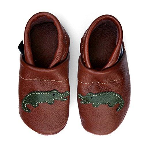 GRUEN Lederpuschen Lauflernschuhe mit eu Krabbelschuhe BRAUN Krokodil Kinder Babyschuhe pantau 6wqzgnBCx