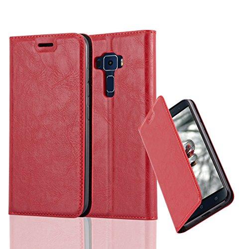 Cadorabo Hülle für ASUS ZenFone 3 - Hülle in Apfel ROT – Handyhülle mit Magnetverschluss, Standfunktion und Kartenfach - Case Cover Schutzhülle Etui Tasche Book Klapp Style