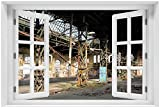 Wallario Acrylglasbild mit Fenster-Illusion: Motiv Verlassene Industriehalle - Alte Fabrik - 60 x 90 cm mit Fensterrahmen in Premium-Qualität: Brillante Farben, freischwebende Optik
