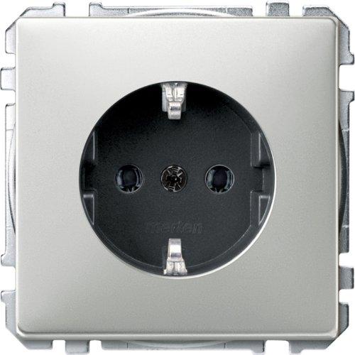 Preisvergleich Produktbild Merten MEG2301-4146 SCHUKO-Steckdose, Steckklemmen, Edelstahl, System Fläche