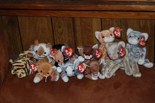 (9) Ty Beanie Baby Cats Amber,Chip,Nip,Pounce,Prance,Scat,Silver,Snip,Stripes, by Beanie Babies (Prance Ty Babies Beanie)