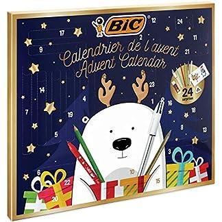 BIC, Calendario de Adviento – 24 Artículos de Escritura:/6 Rotuladores Magic/6 Lápices de Colores/4 Ceras/1 Pegamento/1 Lápiz de Grafito/1 Goma/3 Bolis; 24 Tarjetas y 20 Adhesivos para Colorear