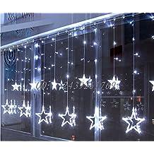 BLOOMWIN LED Cortina Lámpara 220V 2m x 1m 138 LED 12 Estrellas Cortina de Luz Ventana Decoración para Fiesta Navidad Dormitorio Cortina de Luz LED Interiores/Exteriores