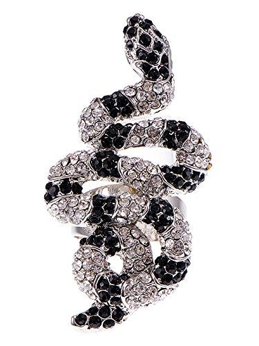 Moderne Medusa Kostüm - Alilang Womens Verstellbare Silber Ton Clear Schwarz Strass Gestreiften Schlange Ring