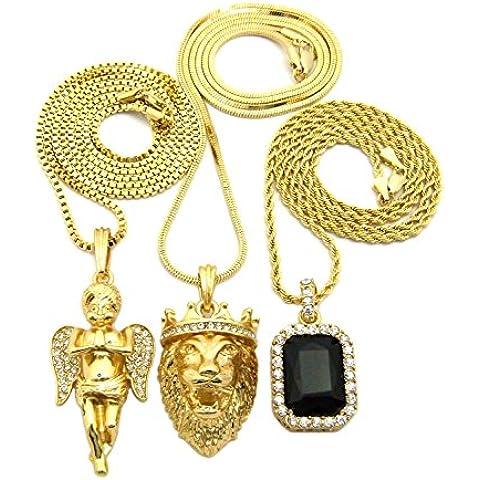Colorato con leone, corona, Praying &-Ciondolo a forma di angelo, con catenina in oro, di varie tonalità