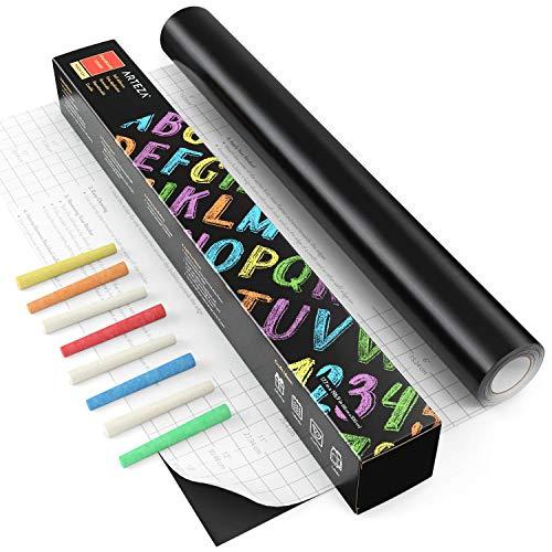 ARTEZA Pizarra adhesiva negra para tizas | Rollo de 45 cm x 5 m | Incluye 8 tizas | Adherencia fuerte | Papel pizarra adhesivo | Vinilos de pared para los niños, la oficina y el hogar