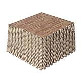 HOMCOM Wood Effect Interlocking EVA Foam Mat Exercise Floor Protection Mats Gym Garage Kids Play 60 x 60cm (Dark wooden-grain colour, 96 SQ FT/24 Mats)