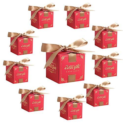 Billty 10 Stück Geschenkboxen Hochzeit Geschenkbox Gastgeschenk Kartonage klein Süßigkeiten Kartons Tischdeko Favous Box für Hochzeit Party Feier