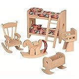Puppenhausmöbel Kinderzimmer mit Schaukelstuhl, Wiege, Doppelstockbett, Stillstuhl, Schaukelpferd 5-teilig für die erste Puppenstube