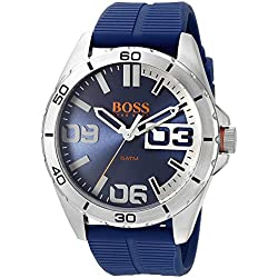 Hugo Boss Men's 48mm Blue Rubber Band Steel Case Quartz Analog Watch 1513286