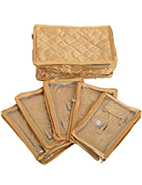 Kuber Industries™ Locker Jewellery Kit,Jewellery Box In Quilted Satin 5 Flaps (Golden) KU185