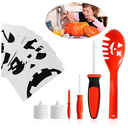PBPBOX Halloween Kürbis Schnitzset für Kinder, inkl. 4 Schnitzwerkzeugen, zwei LED-Lichtern, Schnitz-Vorlagen