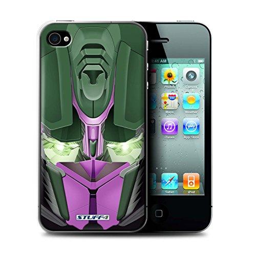 Coque de Stuff4 / Coque pour Apple iPhone 4/4S / Bumble-Bot Violet Design / Robots Collection Opta-Bot Rose