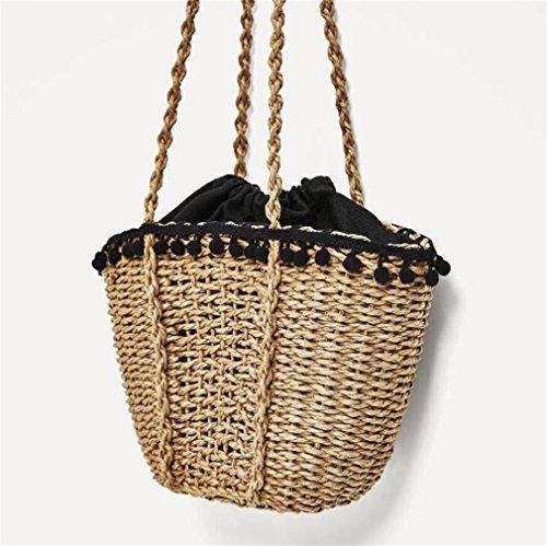 ELEGENCE-Z Stroh Tasche, Handgemachte Rattan Woven Handtasche, Vintage Straw Knit Umhängetasche, Damen (Rattan-magazin-korb)