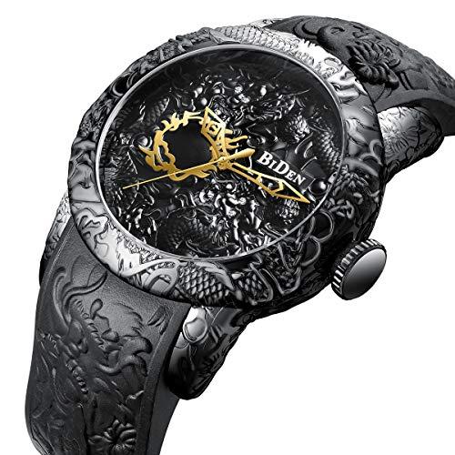 TYWZF Reloj Hombres Cuarzo 3D Escultura Dragón Creativo Hombres Relojes Reloj Masculino,Black