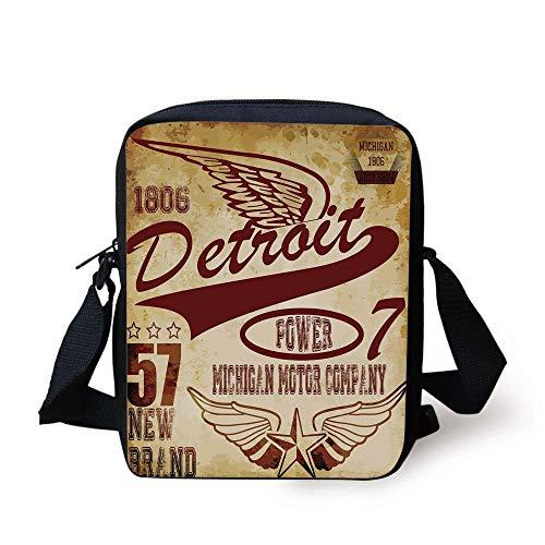 CBBBB Detroit,Vintage Elements Michigan Company Free Wings Auto Show Theme Print,Burgundy Brown Pale Brown Print Kids Crossbody Messenger Bag Purse -