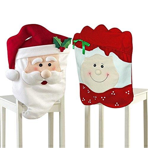 2 PCS Weihnachten Dekoration Santa Red Hut Chair Covers Dinner Stuhl Xmas Rotkappe Weihnachtsgeschenk Satz für Weihnachtsessen Deko - Red Dinner-stühle