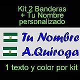 Vinilin - Pegatina Vinilo Bandera Andalucia + tu Nombre - Bici, Casco, Pala De Padel, Monopatin, Coche, etc. Kit de Dos Vinilos (Azul Oscuro)