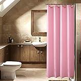 Anti-Schimmel Duschvorhang, Anti-bakterieller Vorhang für die Dusche inkl. 12 Duschvorhangringen, Blickdichter Vorhang in Rosa, aus 100% Polyester, 180 x 180 cm