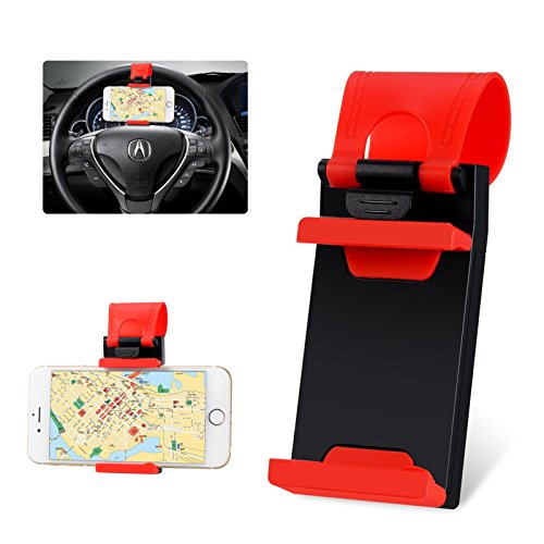 DMG Multi-functional Mobile Phone Car Steering Wheel Holder/Mount/Clip/Buckle Socket Hands Free Access to Your Phone for iPhone 5/5G/ 4/4S, HTC, Samsung Galaxy, GPS and Smart Cellphones