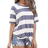 Damen Bluse Yesmile Frauen Kurzarm Streifen T-Shirt Casual Bluse T Shirt 2018 Frühling Sommer Gestreift Patchwork Oberteil Tops (M, Blau-4)