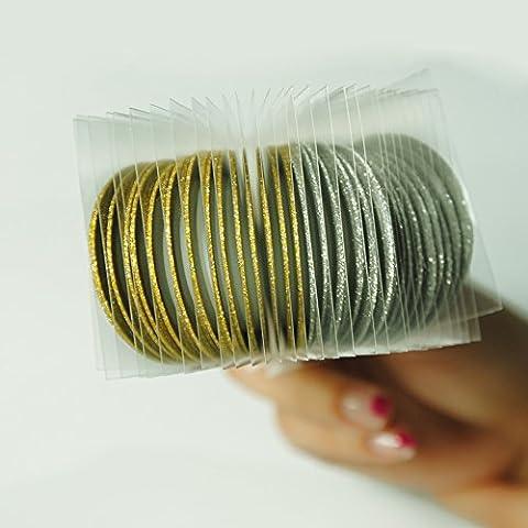 Coscelia Nageldesign Nagelzubehör Nagel Dekoration Mattglasbirne Aufkleber Stripe Sticker Striping Tape Zierstreifen(gold und silber 30pc)