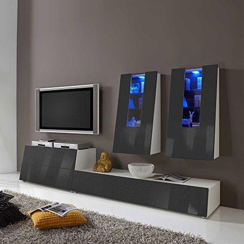 TV Wohnwand in Anthrazit Hochglanz Farbwechsel Beleuchtung (4-teilig) Beleuchtung Wechsellicht Pharao24