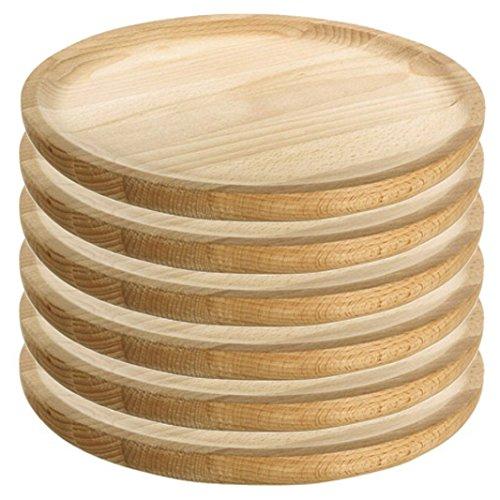 Ruibal - Holzteller Rund - Holzplatte - Kiefer - Set 6 - Ø 30 cm