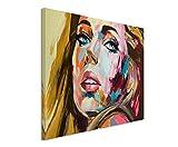 XXL Fotoleinwand 120x80cm Abstraktes Ölgemälde - Blonde Frau auf Leinwand exklusives Wandbild moderne Fotografie für ihre Wand in vielen Größen
