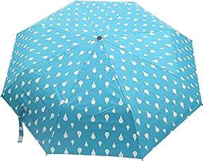 Meet Designer UV Coated 2-Fold Travel Color Changing Umbrella, Blue Color