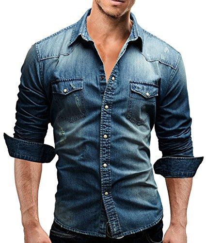 Minetom camicia jeans uomo t-shirt slim fit manica lunga blu eu xs