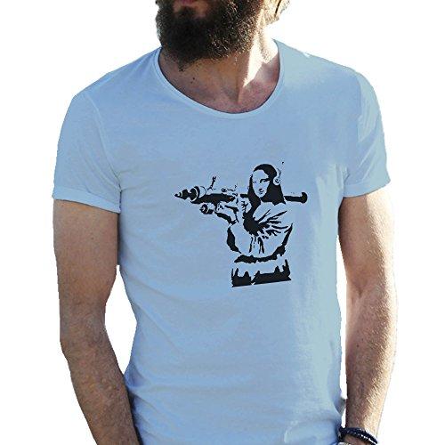 mona-lisa-bazooka-banksy-azzurro-t-shirt-maglietta-per-uomo-medium