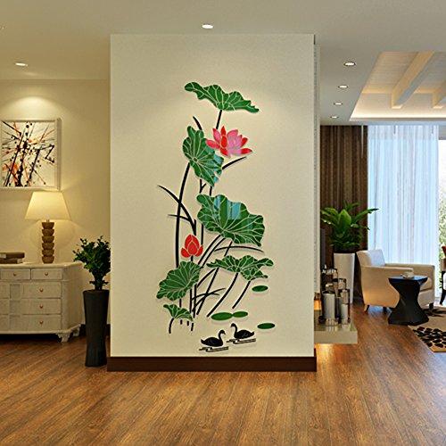 QTT Das Wohnzimmer die Einhaltung der Schlafzimmer 3d aus massivem Acryl Kleber wall Poster auf Fernsehen im Zimmer dekorierte Wände Hintergrundpapier Lotus Teich (770 * 770 * 2000 mm, 2000 mm, a)