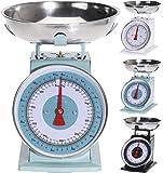 hibuy mecánica Retro Diseño Báscula de Cocina con Plato de Acero Inoxidable. hasta 5kg, Blanco