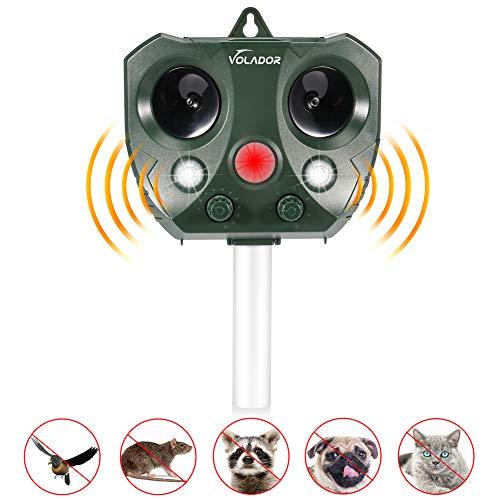 Volador Tiervertreiber, Katzenschreck Ultraschall, Solar Tierabwehr Wasserdicht, Einstellbare Frequenz und Empfindlichkeit, für Mäuse, Katzen, Hunde, Kaninchen, Füchse usw.