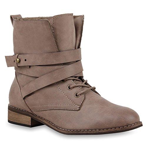Damen Stiefeletten Worker Boots Schnürstiefel Khaki