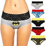 Andyshi Damen Unterhosen Superman Batman Cartoon Taillenslips Liebhaber Stil Sexy Unterwäsche Höschen Spitzenbesatz Damen Slip 5 STÜCKE