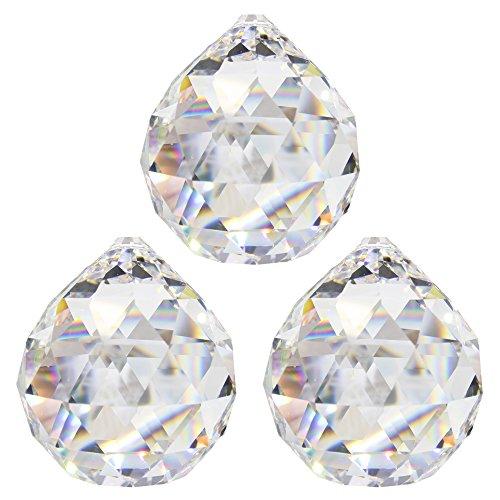 Kristallkugel ø 30 mm 3 Stück 30% Bleikristall Regenbogenkristall Kristall Kugeln zum aufhängen Fensterdeko Feng Shui Kristallglas -