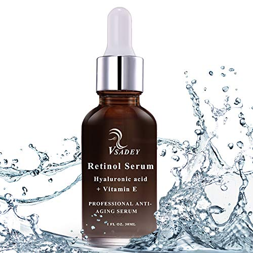 VSADEY Retinol Serum 2.5% Facial con Ácido Hialurónico,  Vitamina E,  Suero Antiedad y Antiarrugas para la piel -  Suero de Retinol Hidratante Orgánico Líquido 30ml | GARANTÍA 100%
