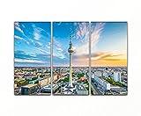 Bilderfabrik - Kunstdruck Berlin Fernsehturm - auf Leinwand und Holzkeilrahmen bespannt. Beste Qualität, handgefertigt in Deutschland. (3x 40x80 cm)