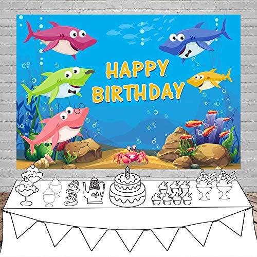 Backdrop 10x6.5ft Happy Birthday Vinyl Photography Background Underwater World Fish Bubbles Baby Shower Children Newborn Kids Party Banner Shoot Photo Props Customizable Sharks ()